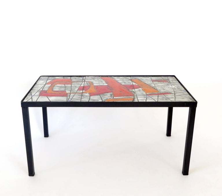 Mid-Century Modern French Ceramic Side Table by Freres Cloutier, Jean and Robert Cloutier For Sale