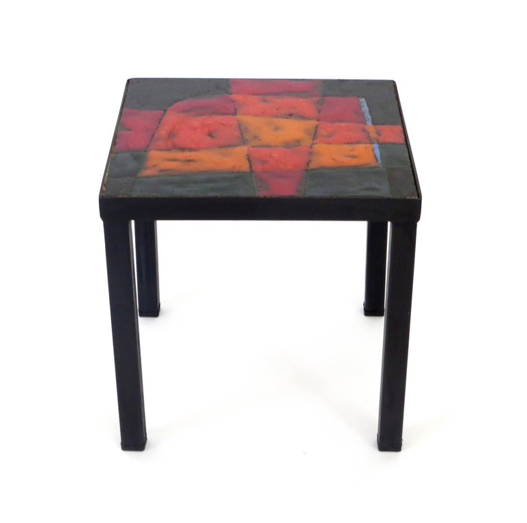 Jean and Robert Cloutier French Ceramic Side Table Freres Cloutier,  In Excellent Condition For Sale In Chicago, IL