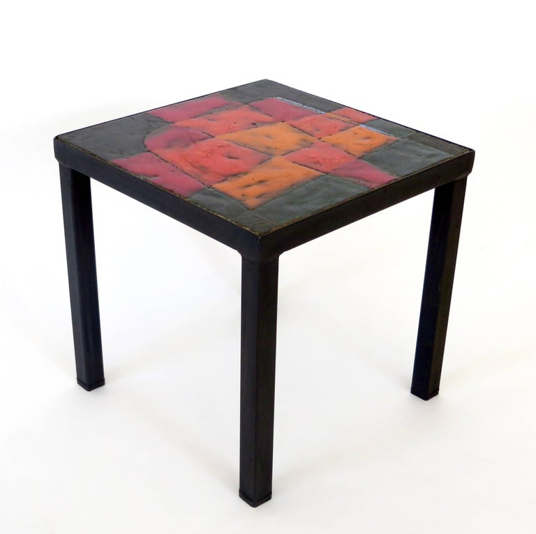 Mid-Century Modern Jean and Robert Cloutier French Ceramic Side Table Freres Cloutier,  For Sale