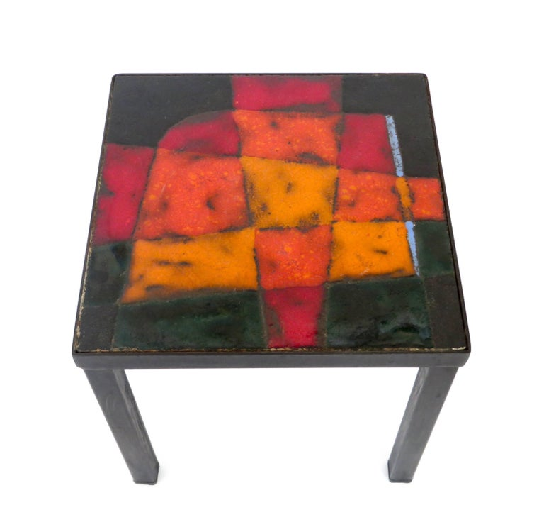Mid-20th Century French Ceramic Side Table by Freres Cloutier, Jean and Robert Cloutier For Sale