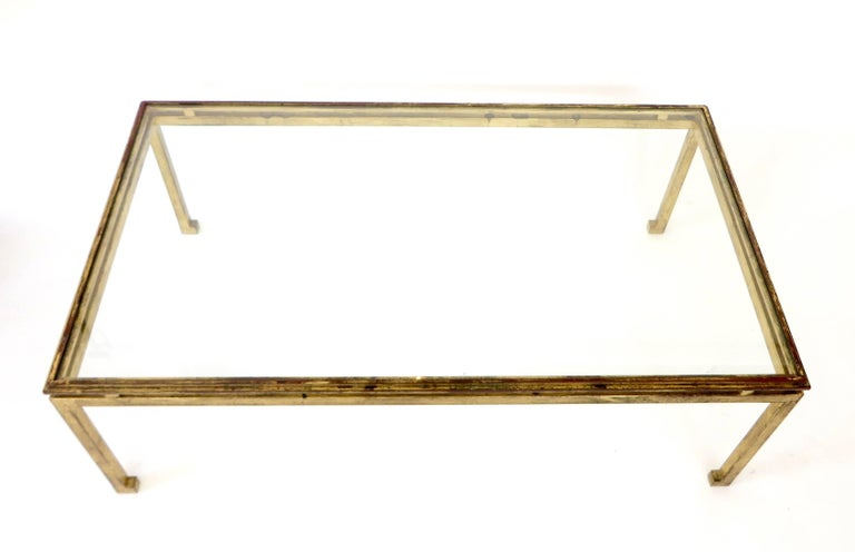 Late 20th Century French Maison Ramsay Gilded Iron and St. Gobain Glass Plateau Coffee Table For Sale