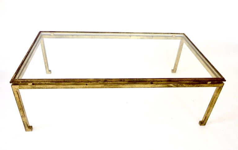 French Maison Ramsay Gilded Iron and St. Gobain Glass Plateau Coffee Table In Excellent Condition For Sale In Chicago, IL