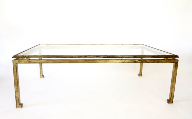 Gilt French Maison Ramsay Gilded Iron and St. Gobain Glass Plateau Coffee Table For Sale