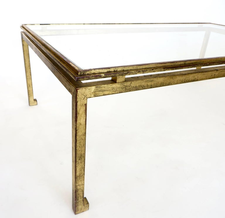 Mid-Century Modern French Maison Ramsay Gilded Iron and St. Gobain Glass Plateau Coffee Table For Sale