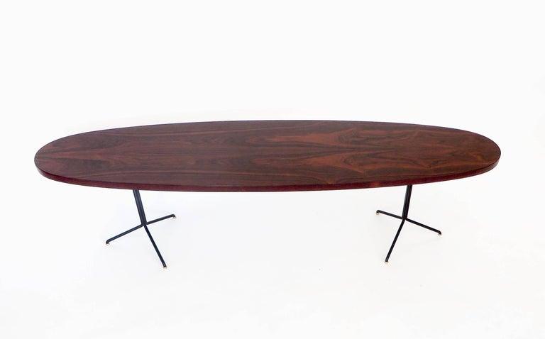 Pair of Osvaldo Borsani for Tecno Oval Rosewood Coffee Tables on Metal Legs 5