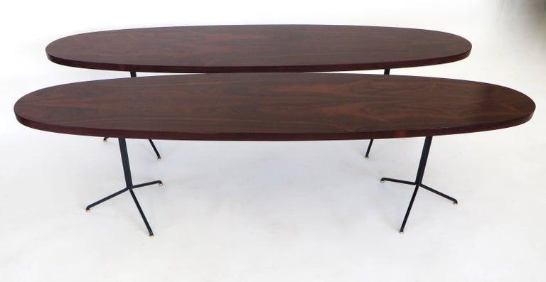 Pair of Osvaldo Borsani for Tecno Oval Rosewood Coffee Tables on Metal Legs 2
