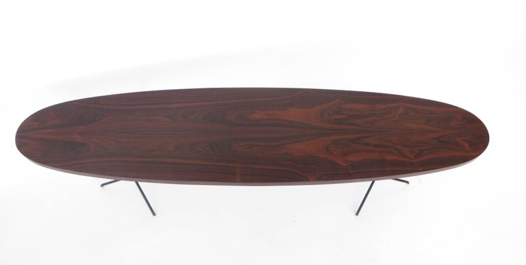 Osvaldo Borsani for Tecno Oval Rosewood Coffee Tables on Metal Legs For Sale 3