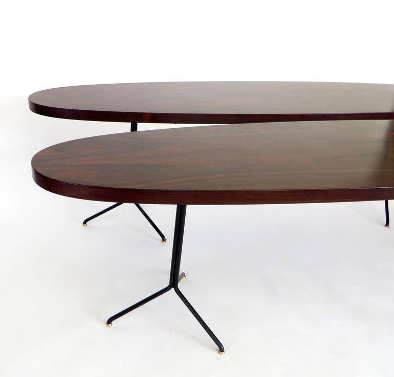 Pair of Osvaldo Borsani for Tecno Oval Rosewood Coffee Tables on Metal Legs 3