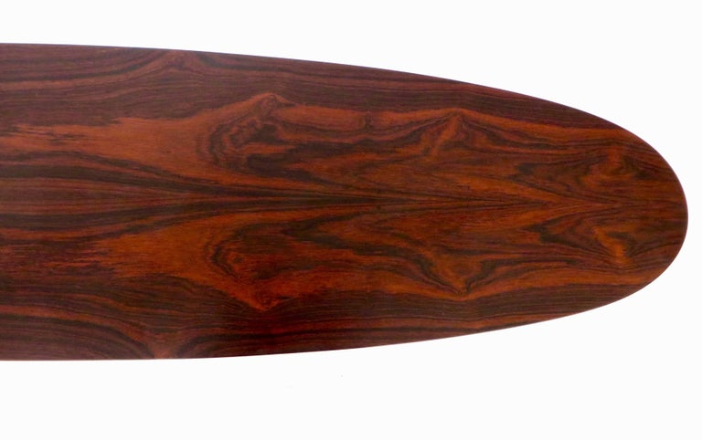 Osvaldo Borsani for Tecno Oval Rosewood Coffee Tables on Metal Legs For Sale 2