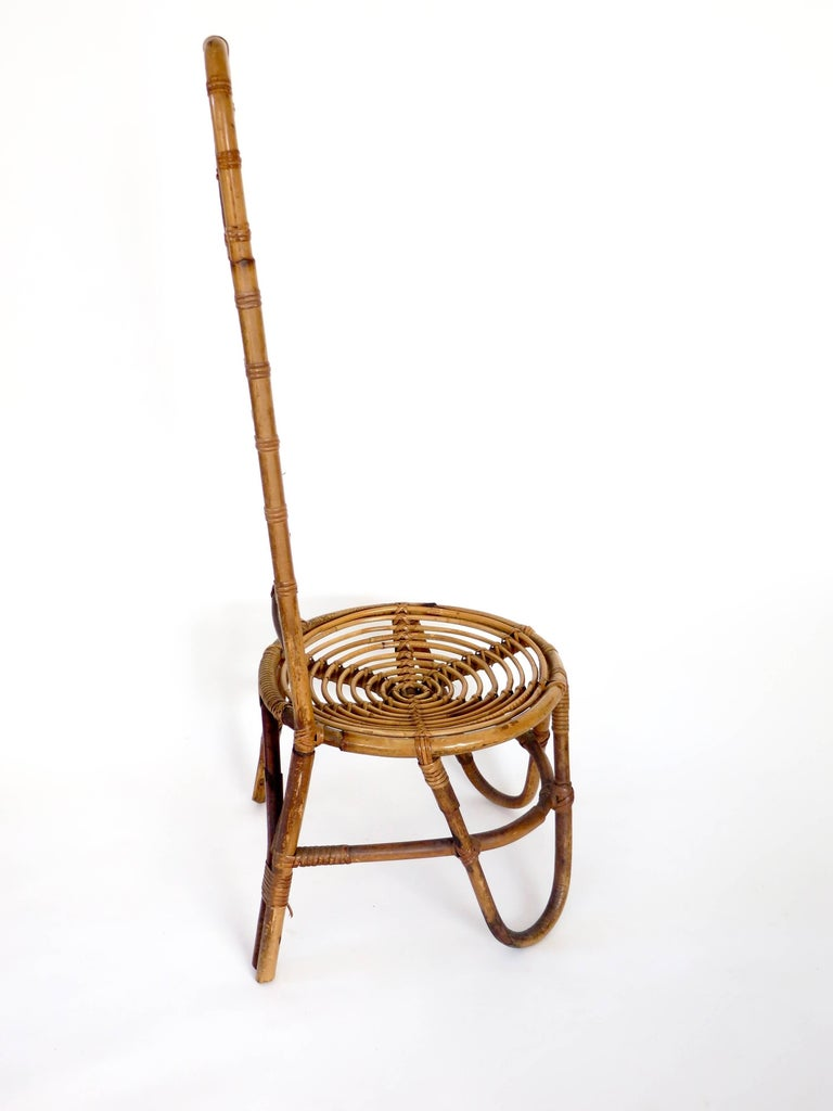 Mid-20th Century French Riviera Rattan Bamboo Single Chair, circa 1960 For Sale