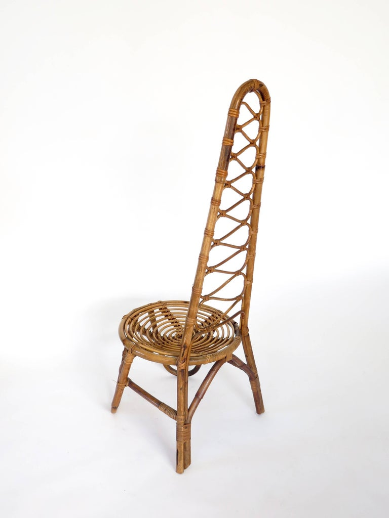 Mid-Century Modern French Riviera Rattan Bamboo Single Chair, circa 1960 For Sale
