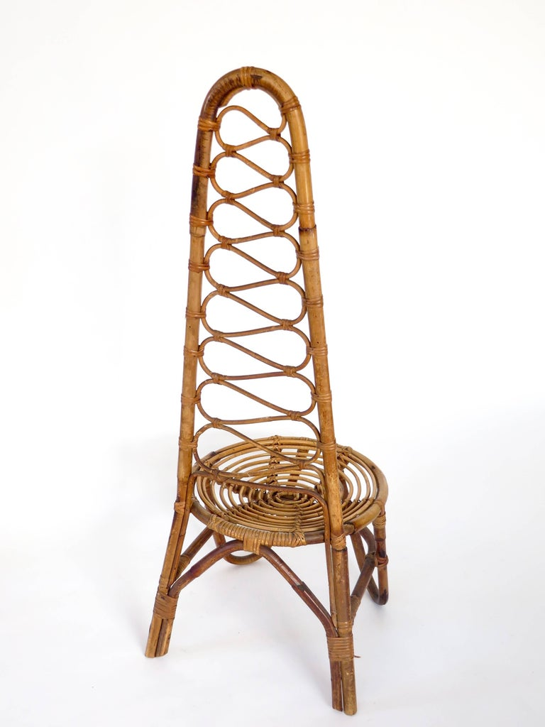 French Riviera Rattan Bamboo Single Chair, circa 1960 In Good Condition For Sale In Chicago, IL
