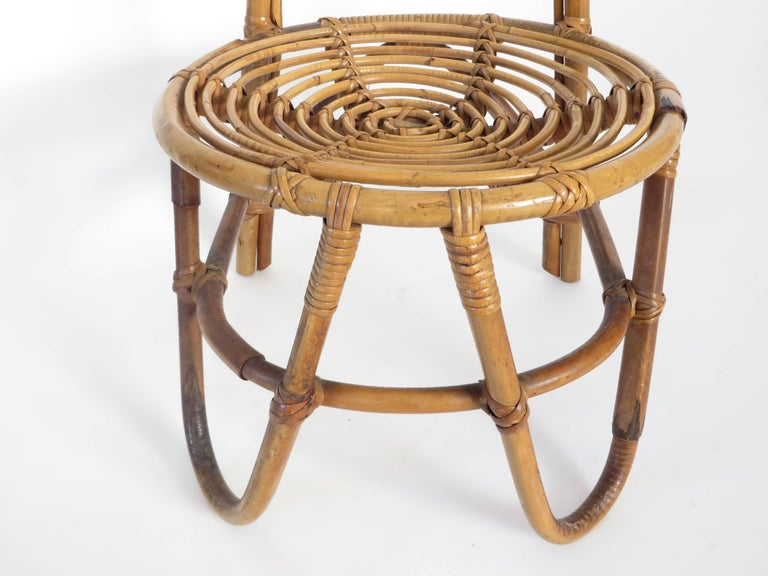 French Riviera Rattan Bamboo Single Chair, circa 1960 For Sale 3