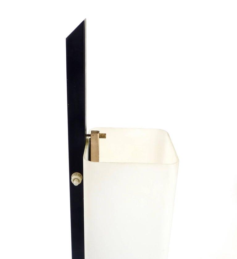 Italian Floor Lamp Rectangular Opaline Glass Black Iron Architectural Base For Sale 3