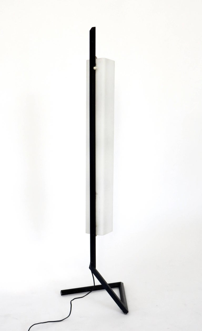 Italian Floor Lamp Rectangular Opaline Glass Black Iron Architectural Base In Excellent Condition For Sale In Chicago, IL