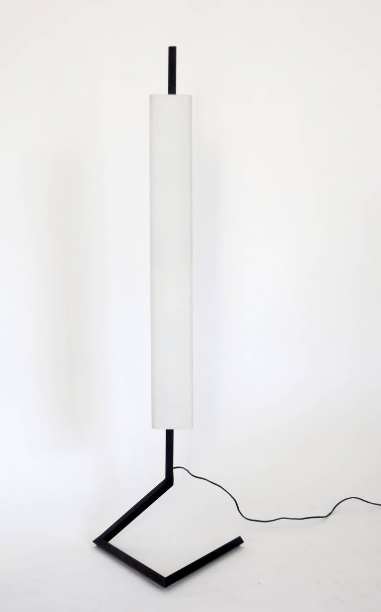 Mid-Century Modern Italian Floor Lamp Rectangular Opaline Glass Black Iron Architectural Base For Sale