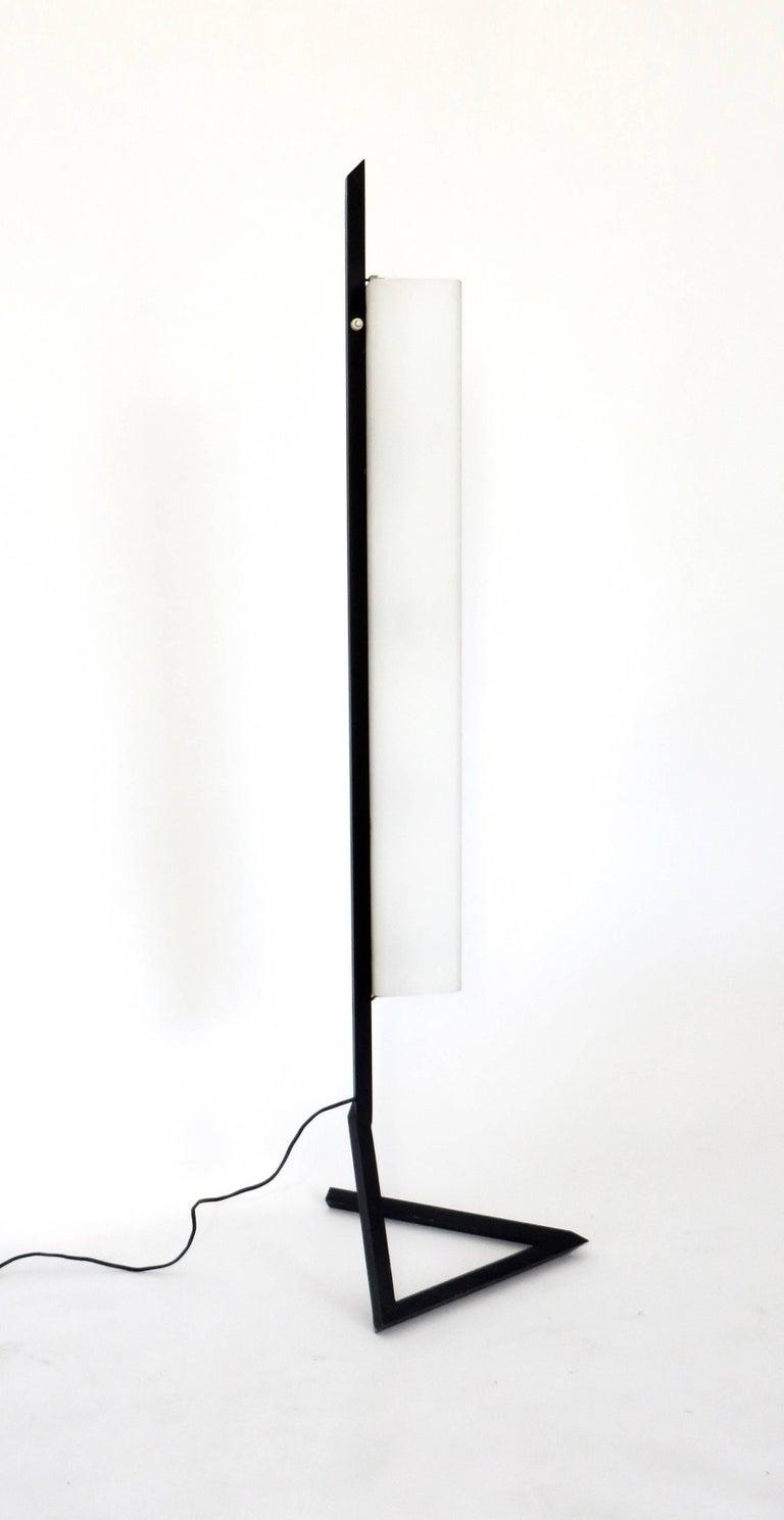 Italian Floor Lamp Rectangular Opaline Glass Black Iron Architectural Base For Sale 1