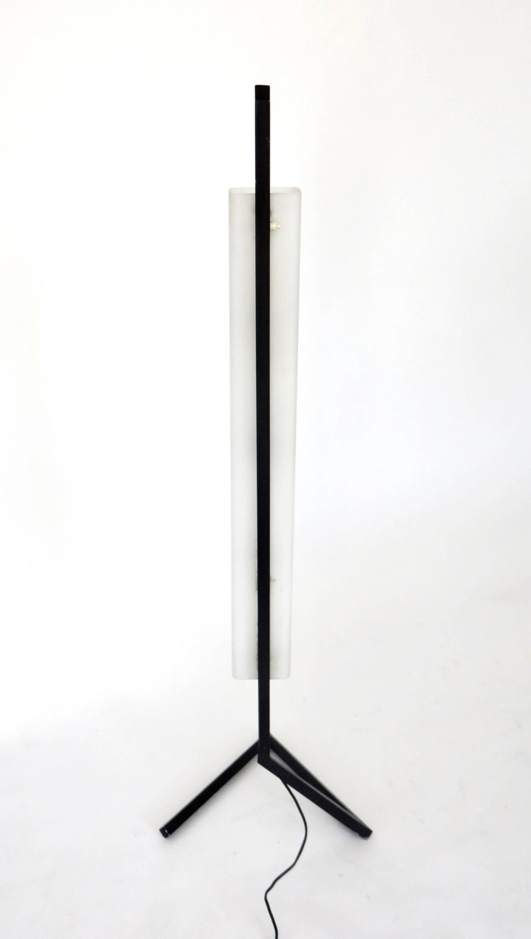 Italian Floor Lamp Rectangular Opaline Glass Black Iron Architectural Base For Sale 2