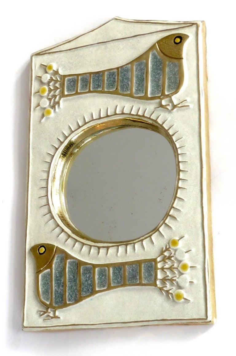 Glazed French Ceramic Mirror by Francois Lembo of Vaullauris For Sale