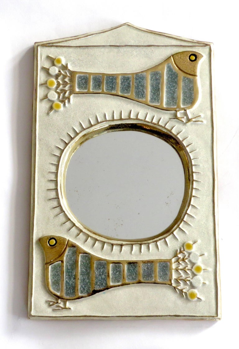 French Ceramic Mirror by Francois Lembo of Vaullauris For Sale 2