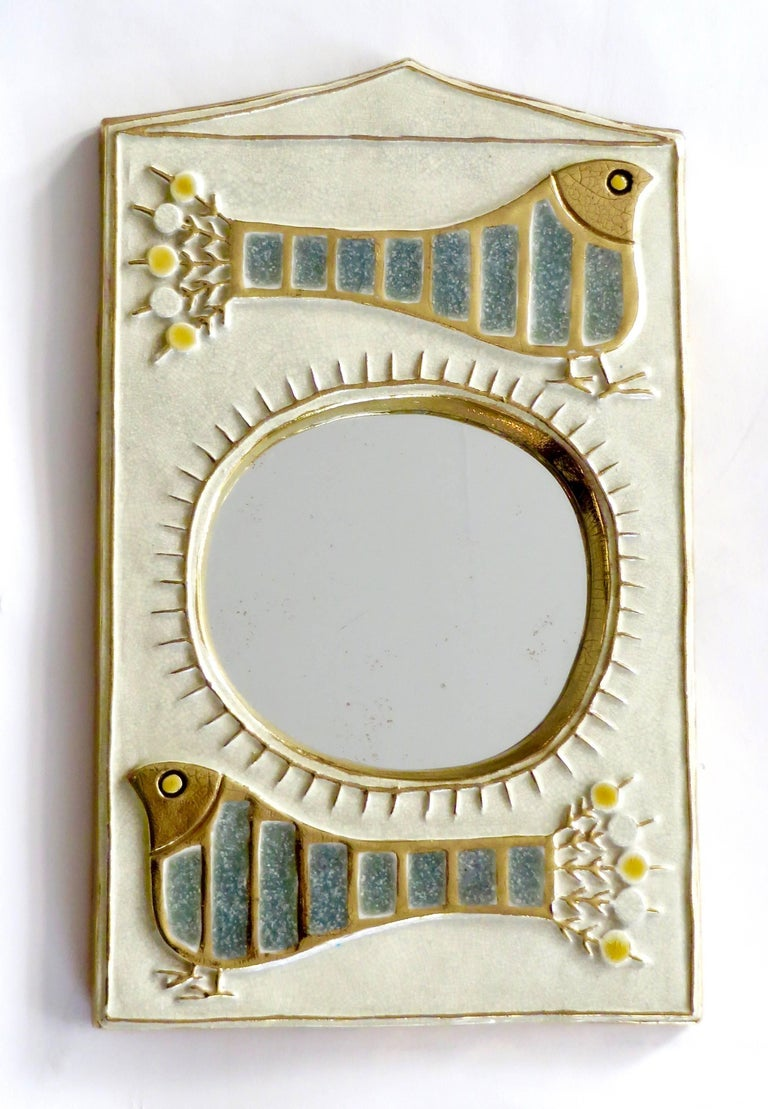Mid-Century Modern French Ceramic Mirror by Francois Lembo of Vaullauris For Sale
