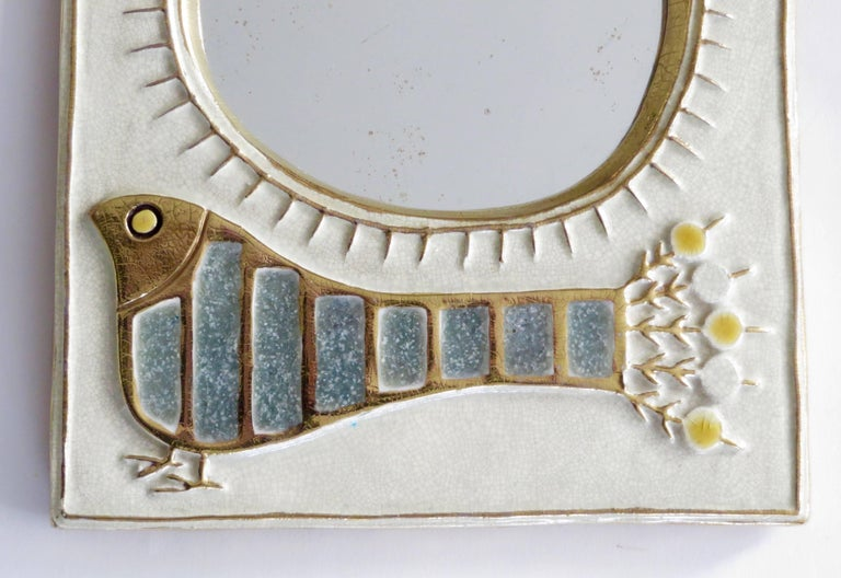 Mid-20th Century French Ceramic Mirror by Francois Lembo of Vaullauris For Sale