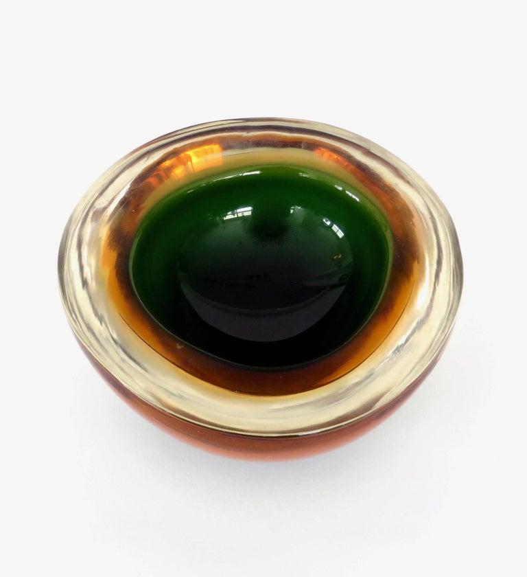 Flavio Poli Italian Sommerso Murano Glass Bowl In Excellent Condition For Sale In Chicago, IL