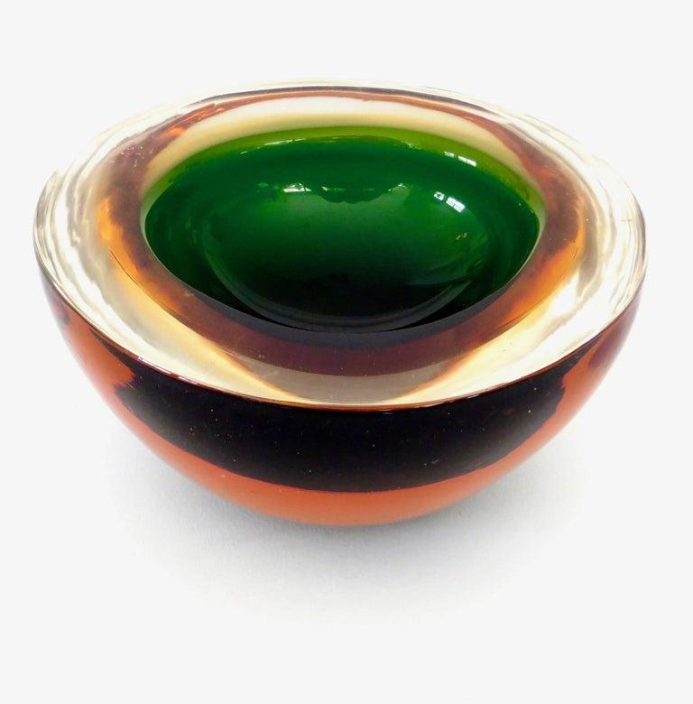 Mid-20th Century Flavio Poli Italian Sommerso Murano Glass Bowl For Sale