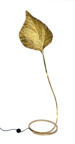 Italian Large Brass Rhubarb Leaf Floor Lamp by Tommaso Barbi
