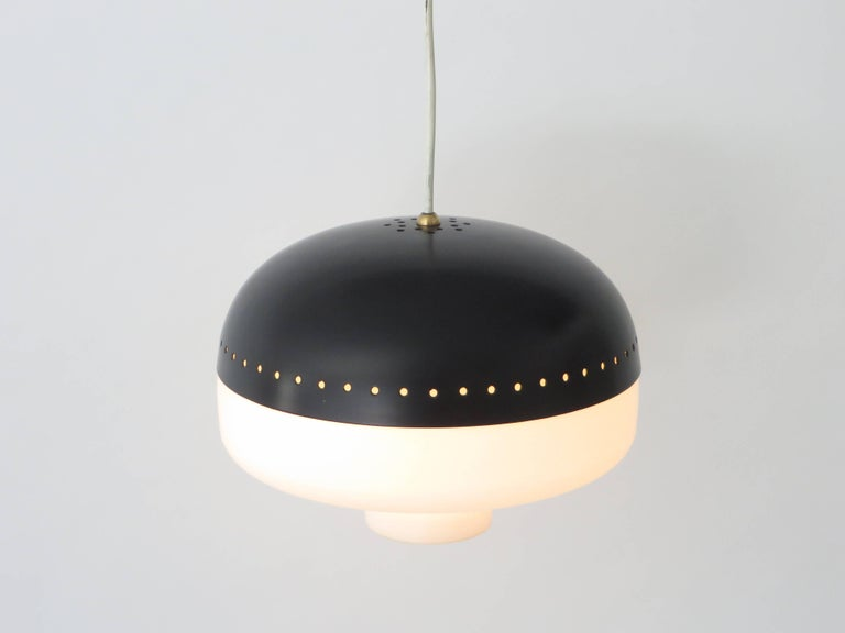 Stilnovo Italian Pendant Light Fixture Brushed Satin Opaque Glass Diffuser In Excellent Condition For Sale In Chicago, IL