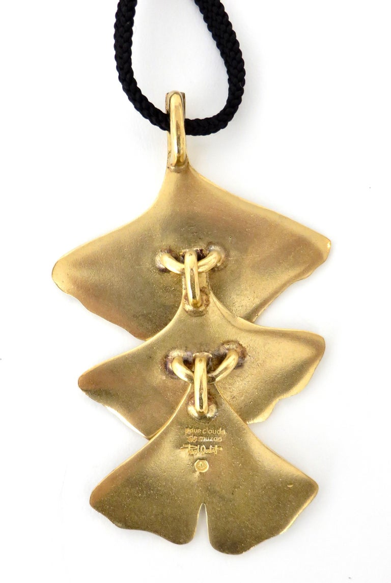 Paul Oudet for Claude De Muzac French Gilded Bronze Ginko Necklace For Sale 1