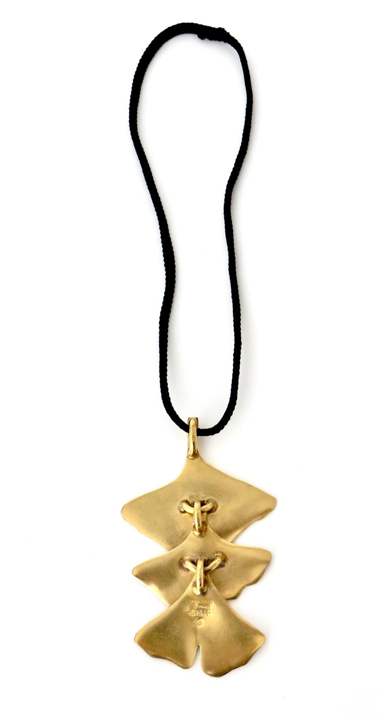 Mid-Century Modern Paul Oudet for Claude De Muzac French Gilded Bronze Ginko Necklace For Sale