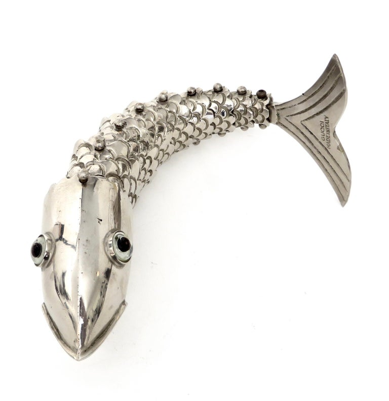 Silver Plate Gucci Made in Italy Bottle Opener in the Form of a Fish For Sale 4