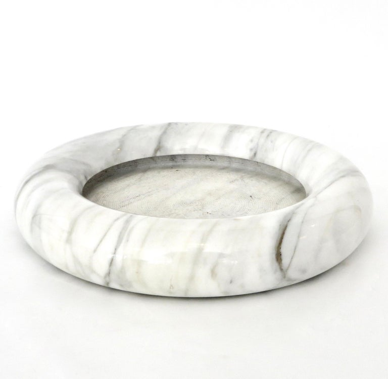 Italian Up & Up White Marble Dish or Bowl by Egidio Di Rosa and Pier Alessandro Giusti For Sale