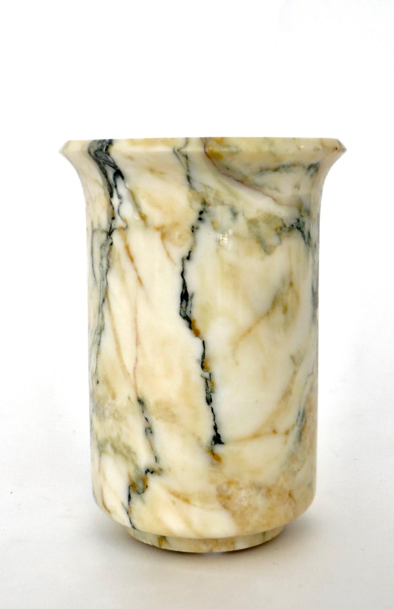 Mid-Century Modern Italian Marble Cream Gold Blue Black Green Veined Vase For Sale