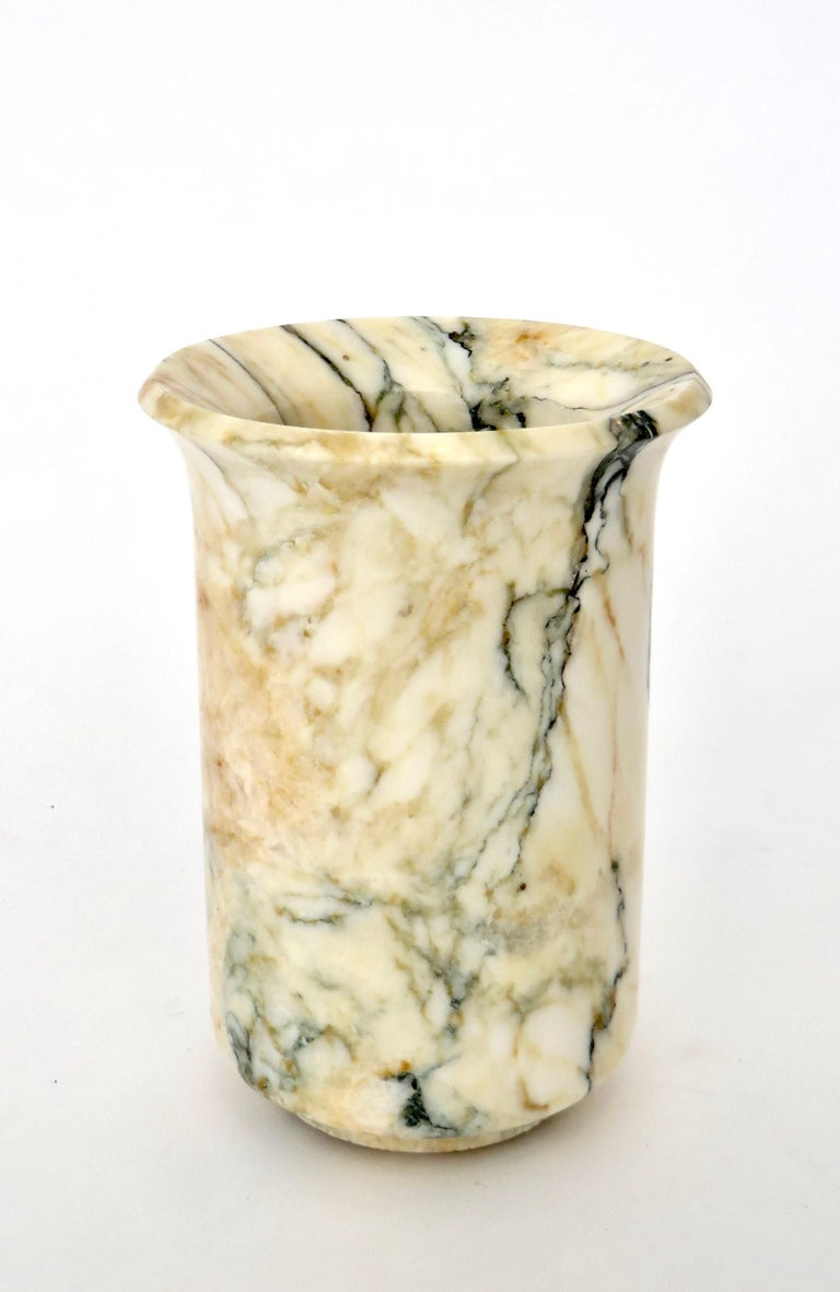 Italian Marble Cream Gold Blue Black Green Veined Vase For Sale 1