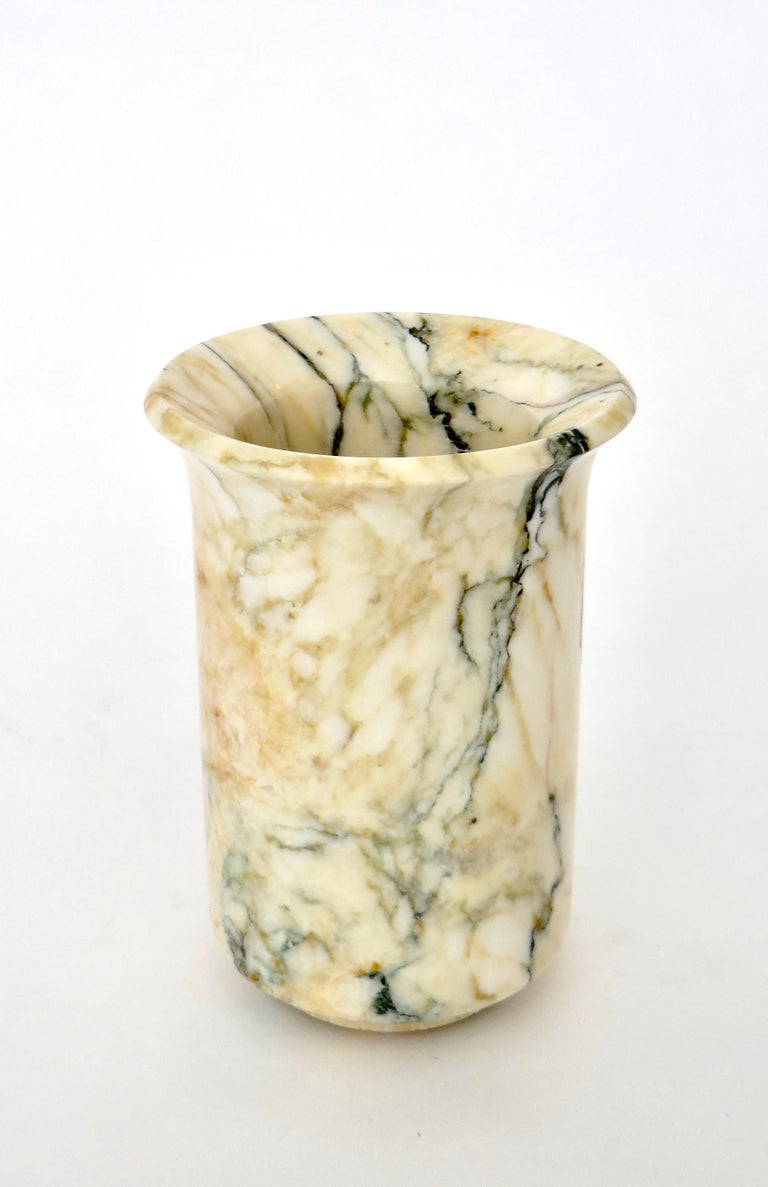 Mid-20th Century Italian Marble Cream Gold Blue Black Green Veined Vase For Sale