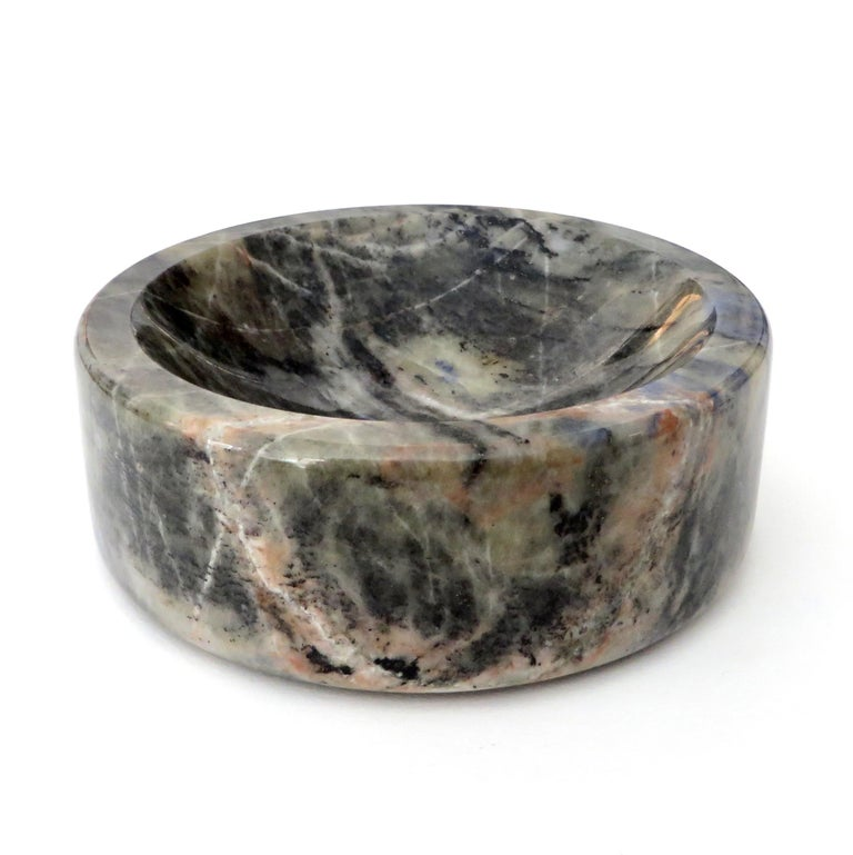 Italian marble bowl or vide poche in blue, gray, white and creams Italian marble.