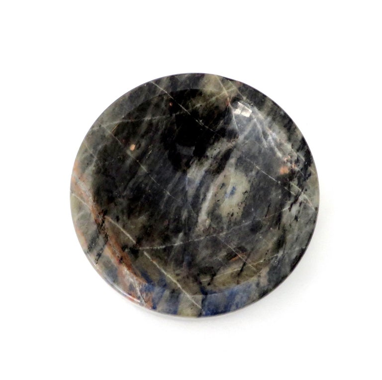 Italian Marble Bowl or Vide Poche Blue Lapis Colored Gray White Veined Marble In Excellent Condition For Sale In Chicago, IL
