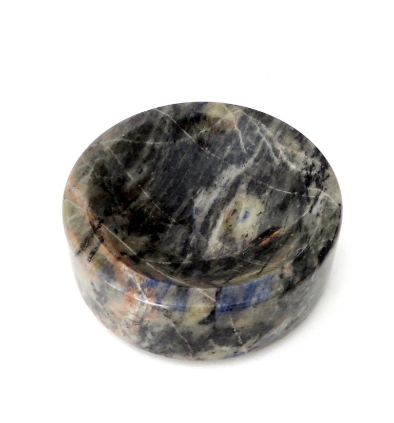 Mid-20th Century Italian Marble Bowl or Vide Poche Blue Lapis Colored Gray White Veined Marble For Sale