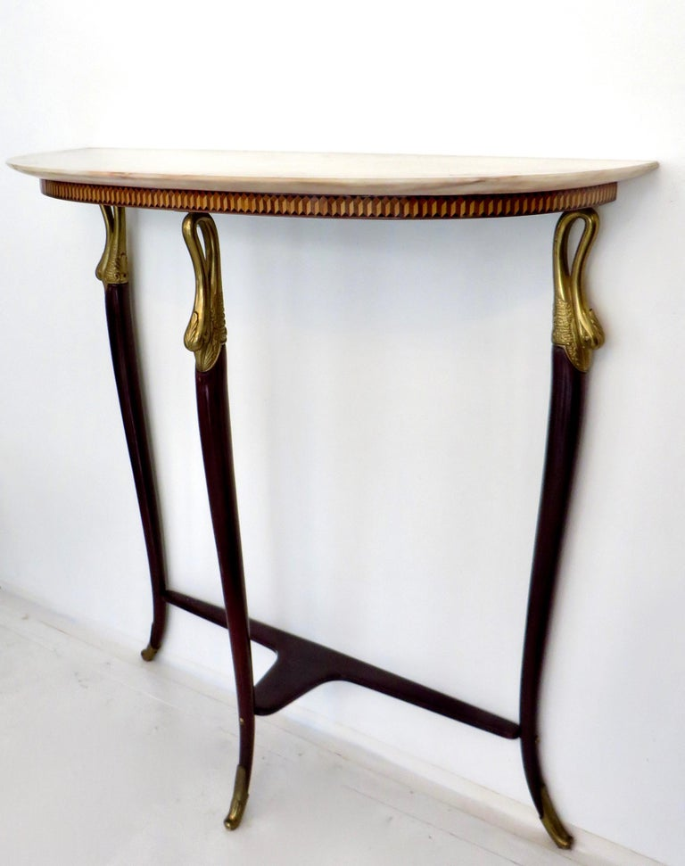 Mid-20th Century Paolo Buffa Attributed Italian Neoclassical Art Deco Wood and Marble Console For Sale