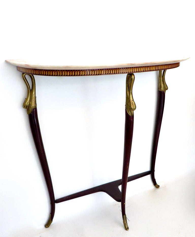 Paolo Buffa Attributed Italian Neoclassical Art Deco Wood and Marble Console For Sale 1