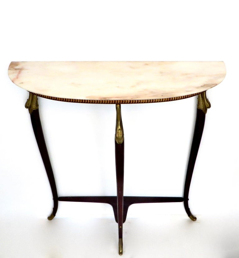 Mid-Century Modern Paolo Buffa Attributed Italian Neoclassical Art Deco Wood and Marble Console For Sale