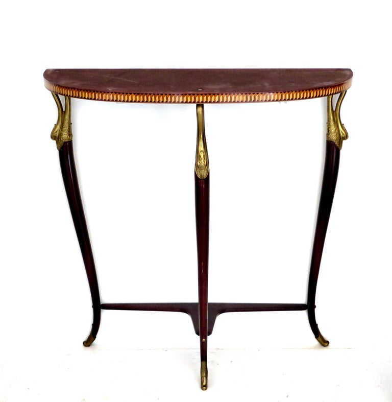 Paolo Buffa Attributed Italian Neoclassical Art Deco Wood and Marble Console For Sale 2