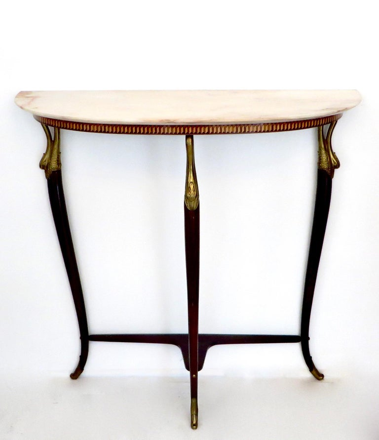 Paolo Buffa Attributed Italian Neoclassical Art Deco Wood and Marble Console In Excellent Condition For Sale In Chicago, IL