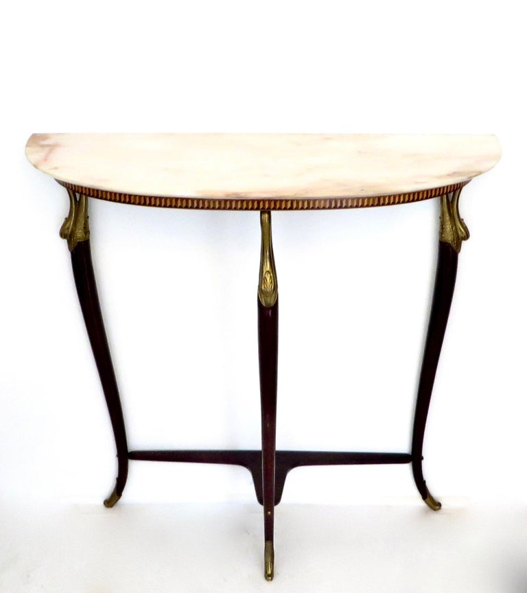Paolo Buffa Attributed Italian Neoclassical Art Deco Wood and Marble Console For Sale 3