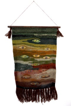 New Zealand Artist Kay Twiss Wall Hanging Tapestry with Handmade Enameled Insets