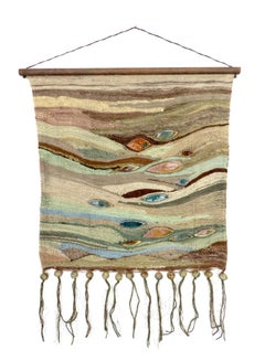 New Zealand Artist Kay Twiss Wall Hanging Tapestry No. 3 with Ceramic Insets