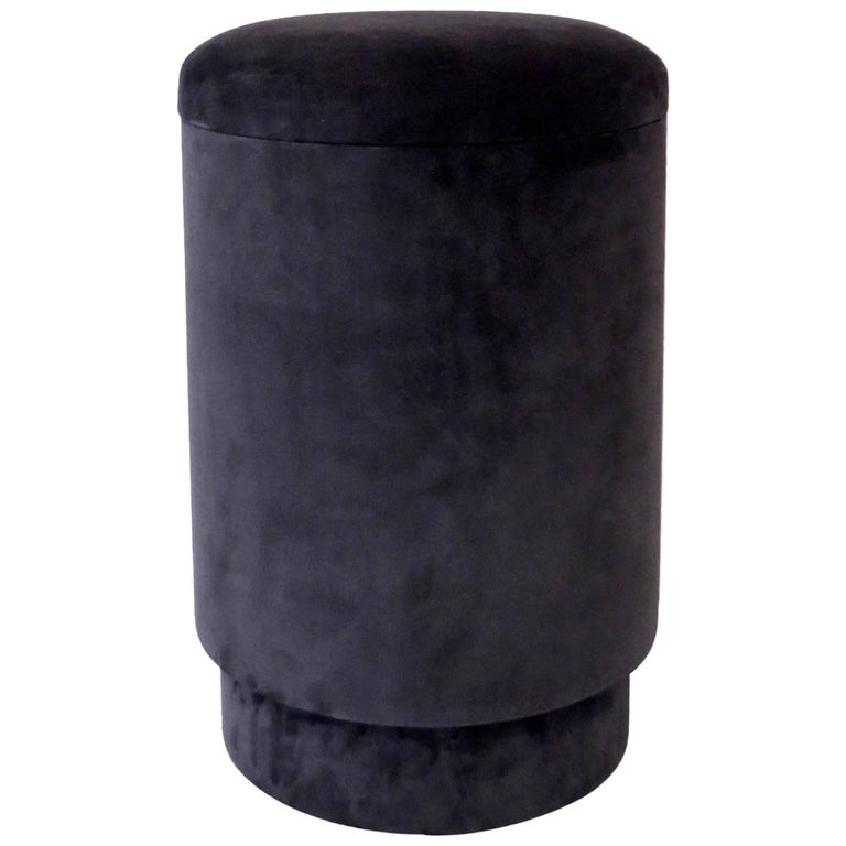 Stool With Storage In Suede Designed By Micha 235 L Verheyden