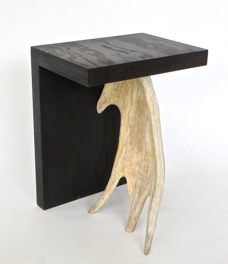 French Rick Owens Stag T Stool in Black Stained Wood For Sale